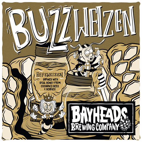 Buzz Weizen Beer Graphic with cartoon bee characters and honey