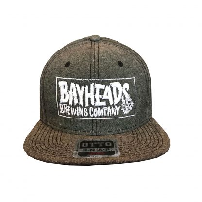 Flat brim hat gray color and white logo