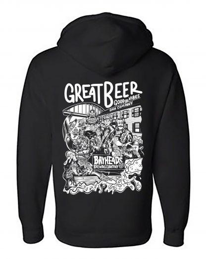 Black hooded sweatshirt with artwork on back